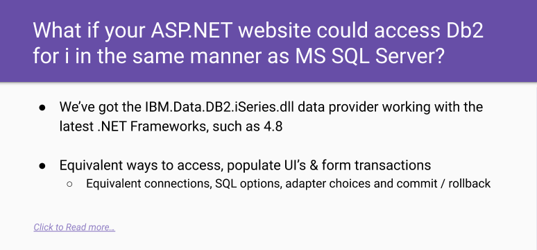 .NET to MS SQL Server and/or DB2 for i using the same techniques