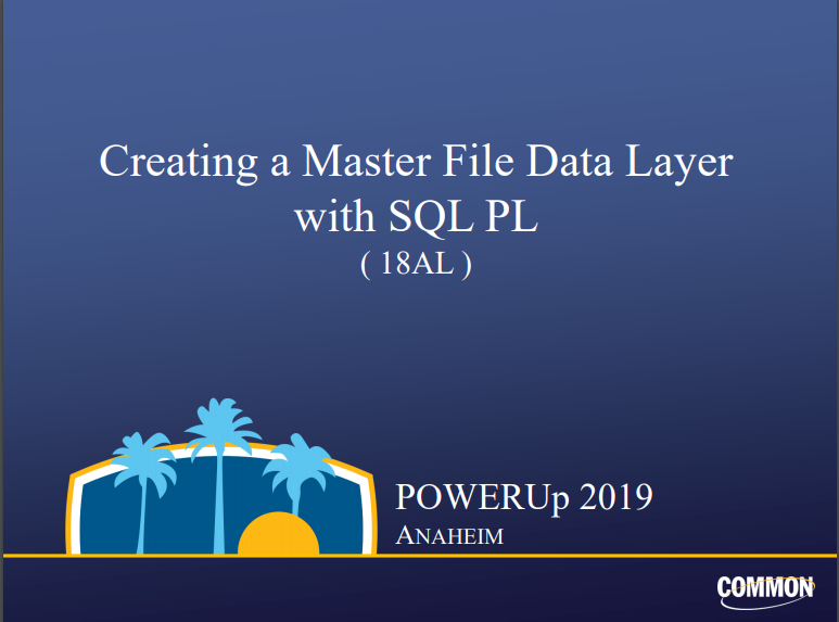 Creating a Master File Data Layer with SQL PL presentation